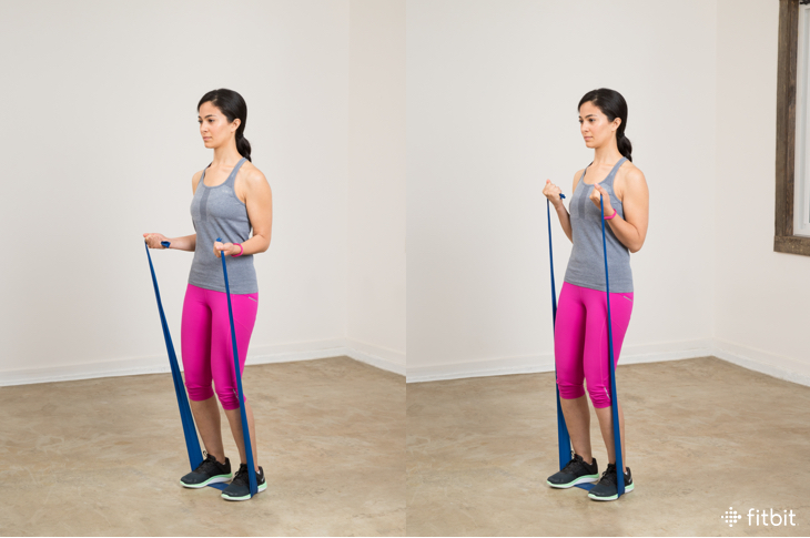 resistance band exercises: bicep curls