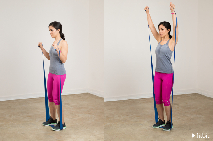 Resistance band exercises: overhead press