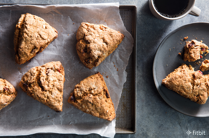 Healthy recipe for oat scones with cranberries and orange zest